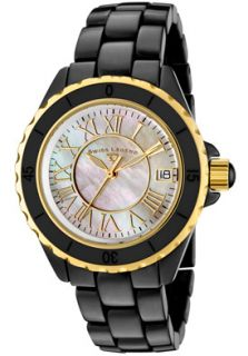 Swiss Legend Watch 20050 BKWGR Womens Black Ceramic Yellow Gold Tone