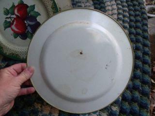 Primitive Vintage Rustic Tin Plates Fruit Design Apple Pear Grapes
