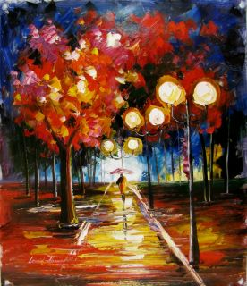 Leonid Afremov Truth of The Night Rainy Park Original Oil Painting on