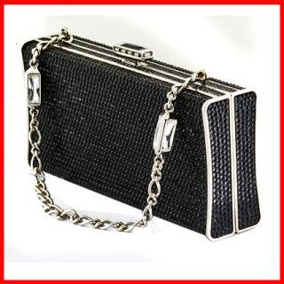 Judith Leiber Minaudiere Black Crystal Bag Clutch Purse