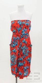Leifsdottir Red Blue Floral Print Strapless Dress Size 0