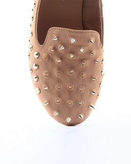MOGAN Shoes Girls Gold Spike Studded Oxford Loafer Punk Leather Ballet