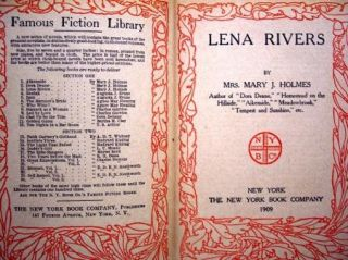 LENA RIVERS By Mrs. Mary J. Holmes 1909 Hardcover The New York Book