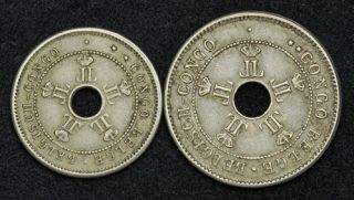 1909, Belgian Congo, Leopold II. Copper Nickel 5 + 10 Centimes Coins