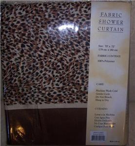 Leopard Print Brown Shower Curtain Hooks Liner Set