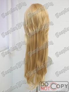 Long Golden Blonde Layer Straight Wavy Ponyail Vocaloid Len