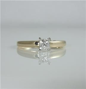 14k Yellow Gold Platinum 45 Ct The Leo Diamond Solitaire Ring Princess