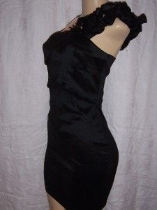 Ladies Black Cocktail Dress by Leola Couture One Shoulder Size Medium