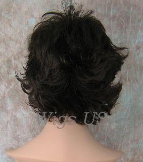 Wigs Med Brown Very Short Flip Curls with Bangs Wig
