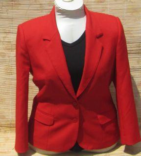 Vintage Leslie Fay True Bright Red Womans Blazer Suit Jacket Misses
