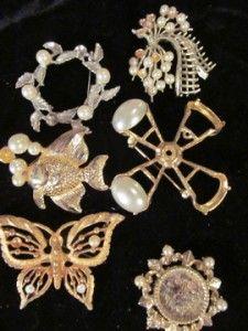Junk Drawer 78 Vintage Now Jewelry Metal Ladies Pins lbs Repair