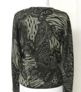 Nina Leonard Size s Gray Black Paisley Sweater Angora Lambswool