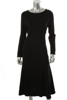 Nina Leonard Black Long Sleeve Scoop Neck Sweaterdress L BHFO