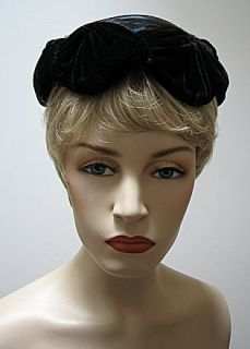 Vintage Ladies Hat Black Velvet Colorful Feathers 570