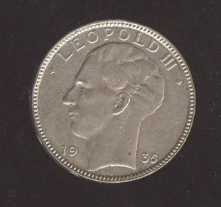 Belgium 20 Francs 1935 Leopold III Silver Coin