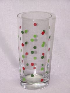 Libbey Glass 4 Christmas 15oz Red Green Dots Tumblers Glasses