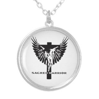 sacred warrior crucifix and wings logo personalized necklace