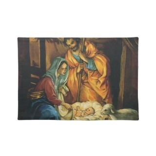 Vintage christmas nativity baby jesus in manger place mat