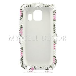 Silver Leopard Diamond Bling Cell Phone Cover Case for LG LS670