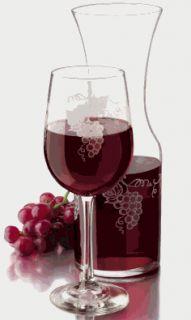 Libbey Glass Tuscan Grapevine Decanter Wine Glasses Set