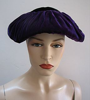 Vintage 1940s Purple Black Velvet Hat Stylish 1231