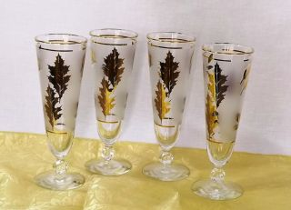 Vintage –Retro 4 Libby Gold Leaf Pilsner Glasses Footed