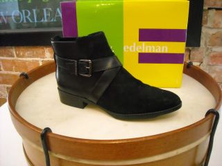 Libby Edelman Portia Black Suede Buckle Ankle Boot 10 New