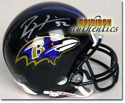 Ray Lewis RARE Autographed Baltimore Ravens Mini Helmet GA