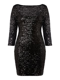 True Decadence Long sleeve sparkle dress Black