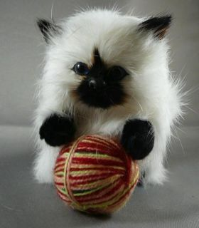 Realistic Soft Himalayan Kitty Cat with Yarn Ball Toy Fur Kitten