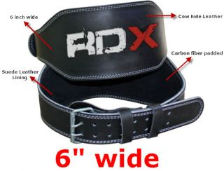 RDX Weight Lifting 6 Leather Belt Back Support Strap Gym Training