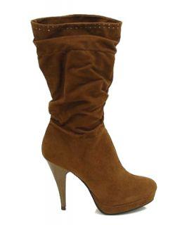 New Liliana Kawa Brown Mid Calf High Heel Mini Platform Womens Boots