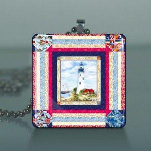 Lighthouse Quilt Ocean Glass Tile Necklace Pendant 653