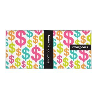Personalized coupon binder with colorful dollar symbols. Customizable