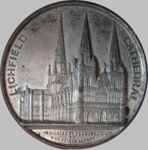 Lichfield Cathedral Medal 1840s by J Davis High Grade