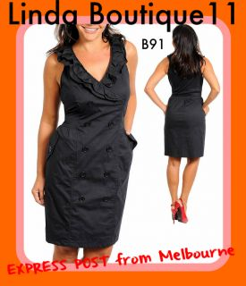 B91 New Womens Black Formal Wedding Party Office Day Vintage Dress