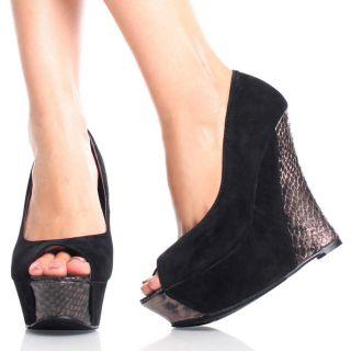 Black Suede Snake Peep Toe Womens High Heel Platform Wedge Shoes Size
