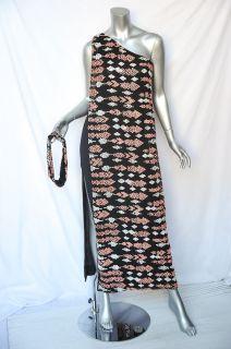 Lillie Rubin Vintage Beaded Multicolor One Shoulder Draped Gown Dress