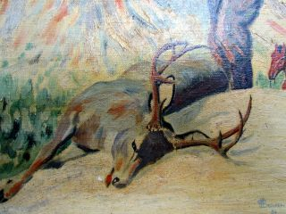 American Impressionist Hunting Painting Signed Lindgren 1929