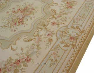 8x10 Pastel Aubusson Area Rug Subtle French w Rose Medallion Handwoven