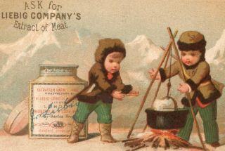 1873 Liebig s 0042 Children Pots Jars Mountain Camp Meat Victorian