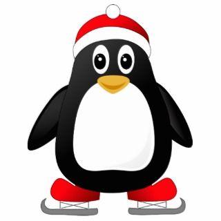 Cute Little Ice Skating Cartoon Penguin Photo Sculptures