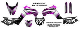Kawasaki KLX 140 2008 11 MX Bike Decal Kit 7777 Hot Pink