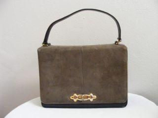 Vtg 60s Life Stride Olive Suede Leather Handbag Purse