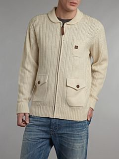 Duck and Cover Shawl neck stripe cardigan Cream