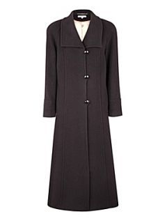 Jacques Vert Long black funnel neck coat Black