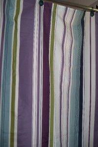 Hudson Stripe Olive Green Purple Blue WT Shower Curtain