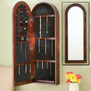 Cherry Wall Jewelry Armoire Jewelery Chest w Mirror