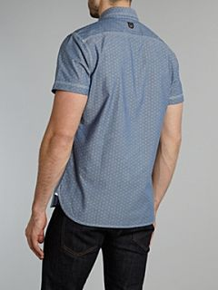 Duck and Cover Short sleeved dot chambray shirt Light Blue