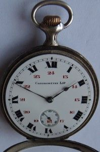 Rare Antique hunting scene silver case Lip Chronometer pocket watch
